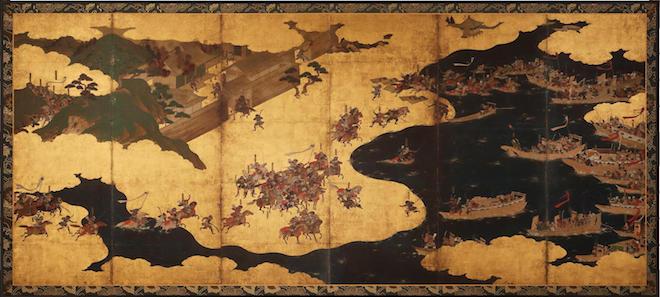 平家物語 一の谷・屋島合戦図屏風(左隻)