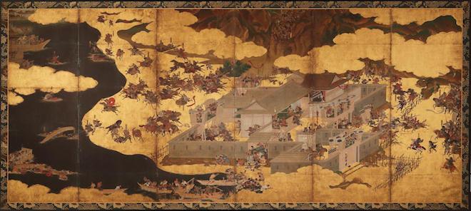 平家物語 一の谷・屋島合戦図屏風(右隻)