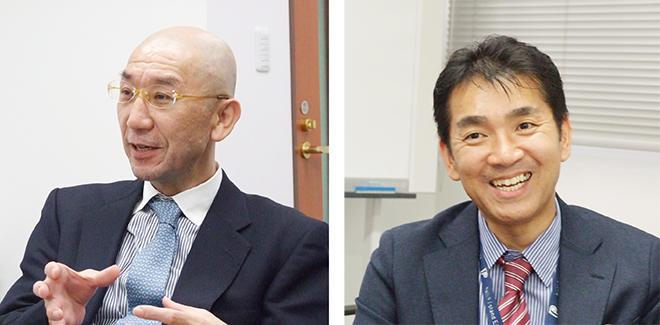 取締役管理本部長・廣田裕一氏(左)と取締役生産技術統括部長の四十野信行氏