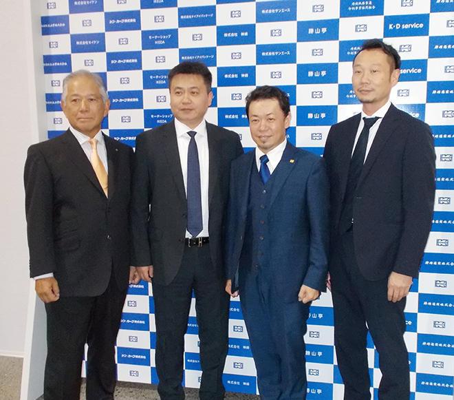 左から、古門社長、徐マネージャー、池田社長、福田社長