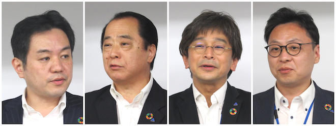 左から青柳社長、工藤部長、矢壁課長、大谷課長代理